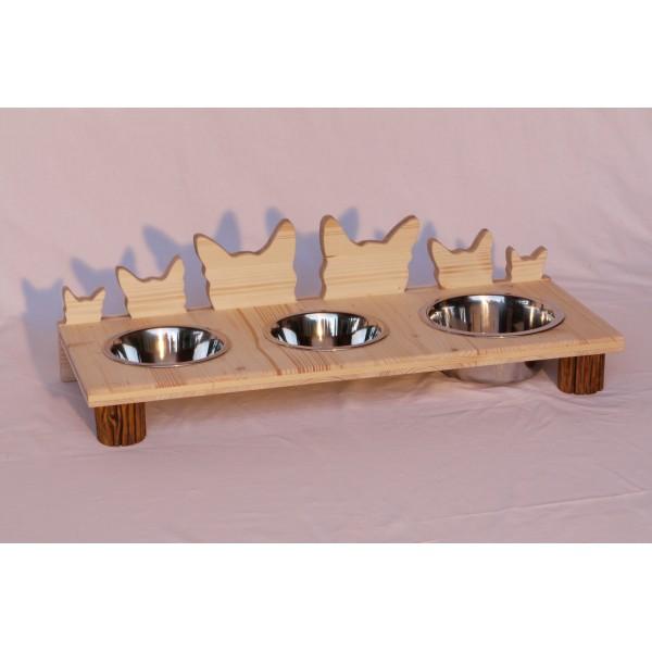 gamelle chat en bois 3 bols inox wigem design. Black Bedroom Furniture Sets. Home Design Ideas
